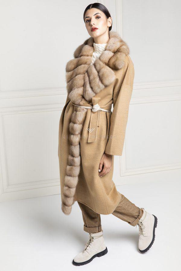 Cappotto di Cashmere Beige Loro Piana conZibellino Russo Barguzinsky - Lunghezza 115 cm
