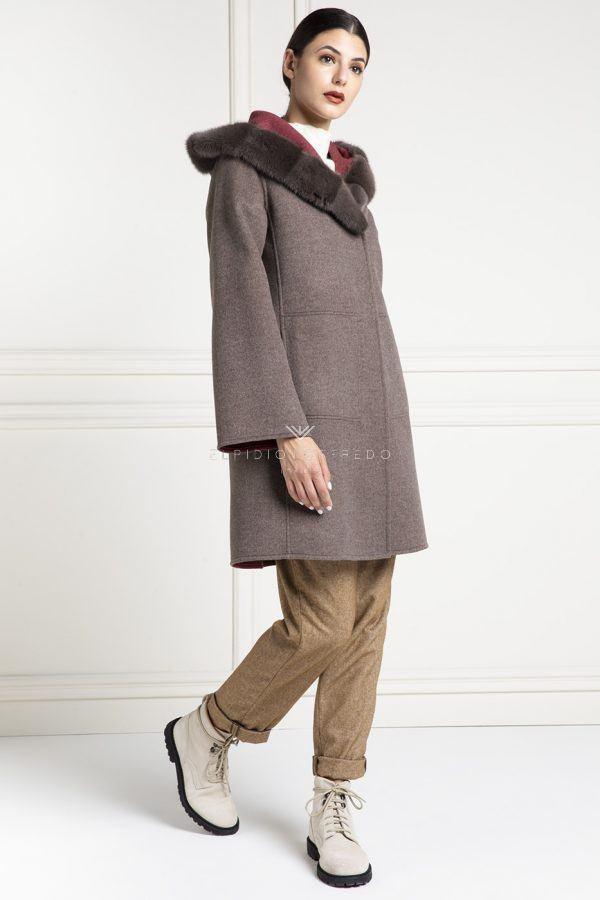Cappotto di Cashmere Loro Piana con Pelliccia di Visone