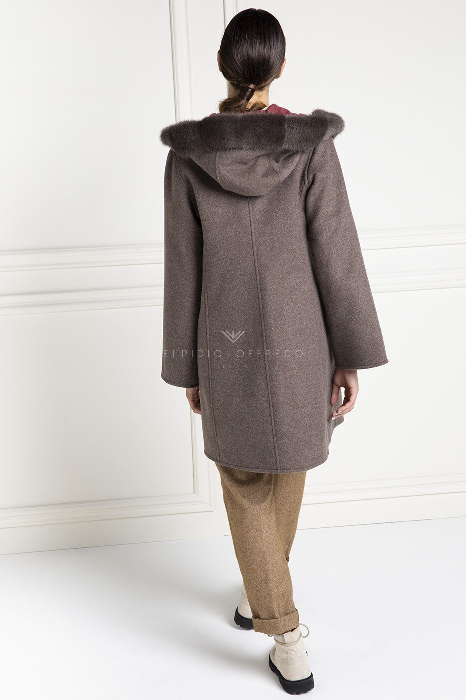 Cashmere Loro Piana Coat with Mink Fur