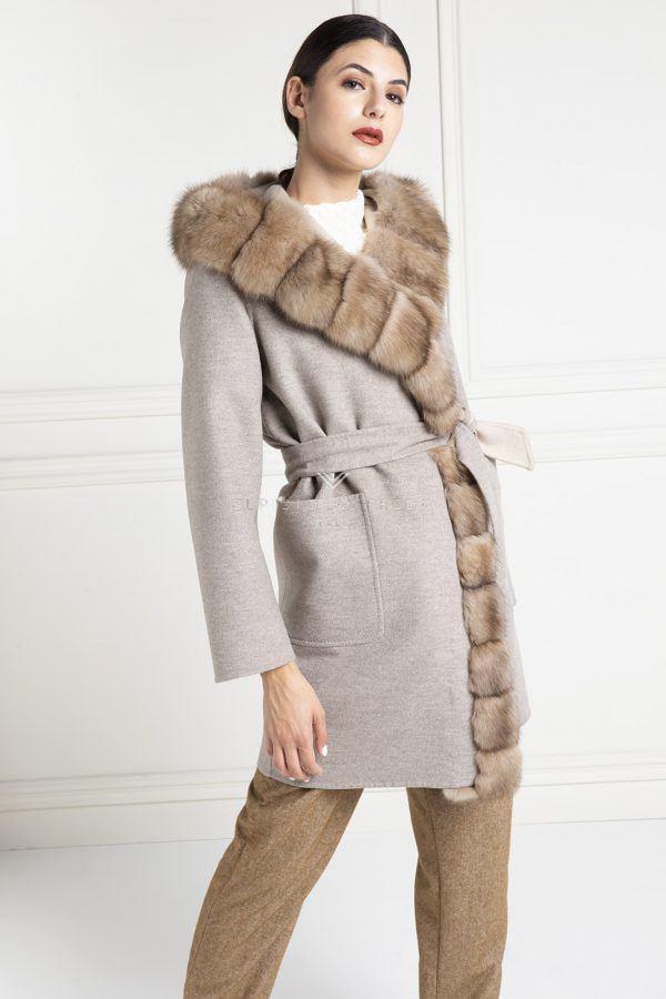 Cashmere Loro Piana Coat with Barguzinsky Russian Sable Fur - Length 90 cm
