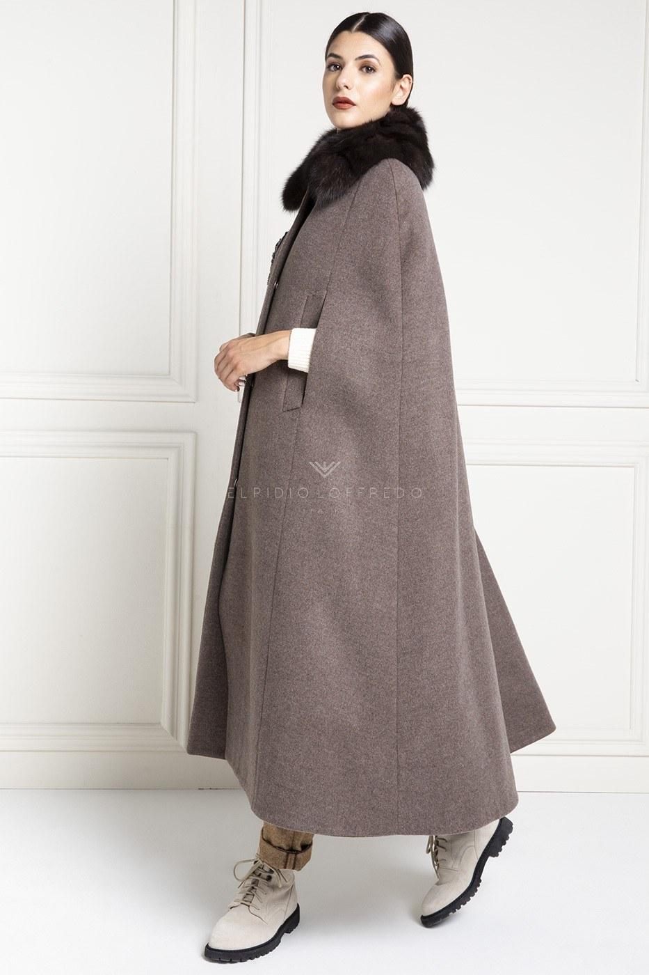 Mantella di Cashmere Loro Piana con Pelliccia di Zibellino Russo Barguzinsky - Lunghezza 130 cm