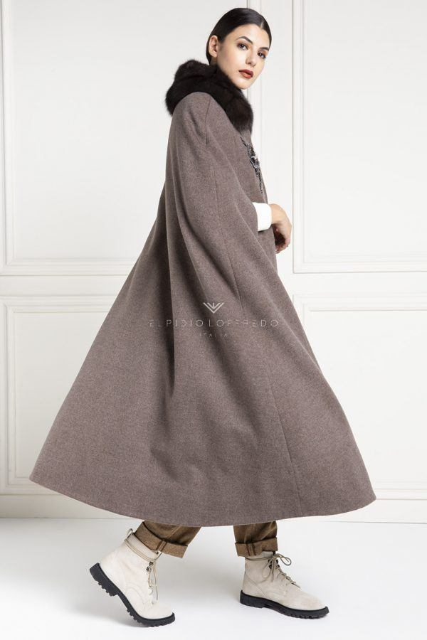 Cashmere Loro Piana Capes with Barguzinsky Russian Sable Fur - Length 130 cm