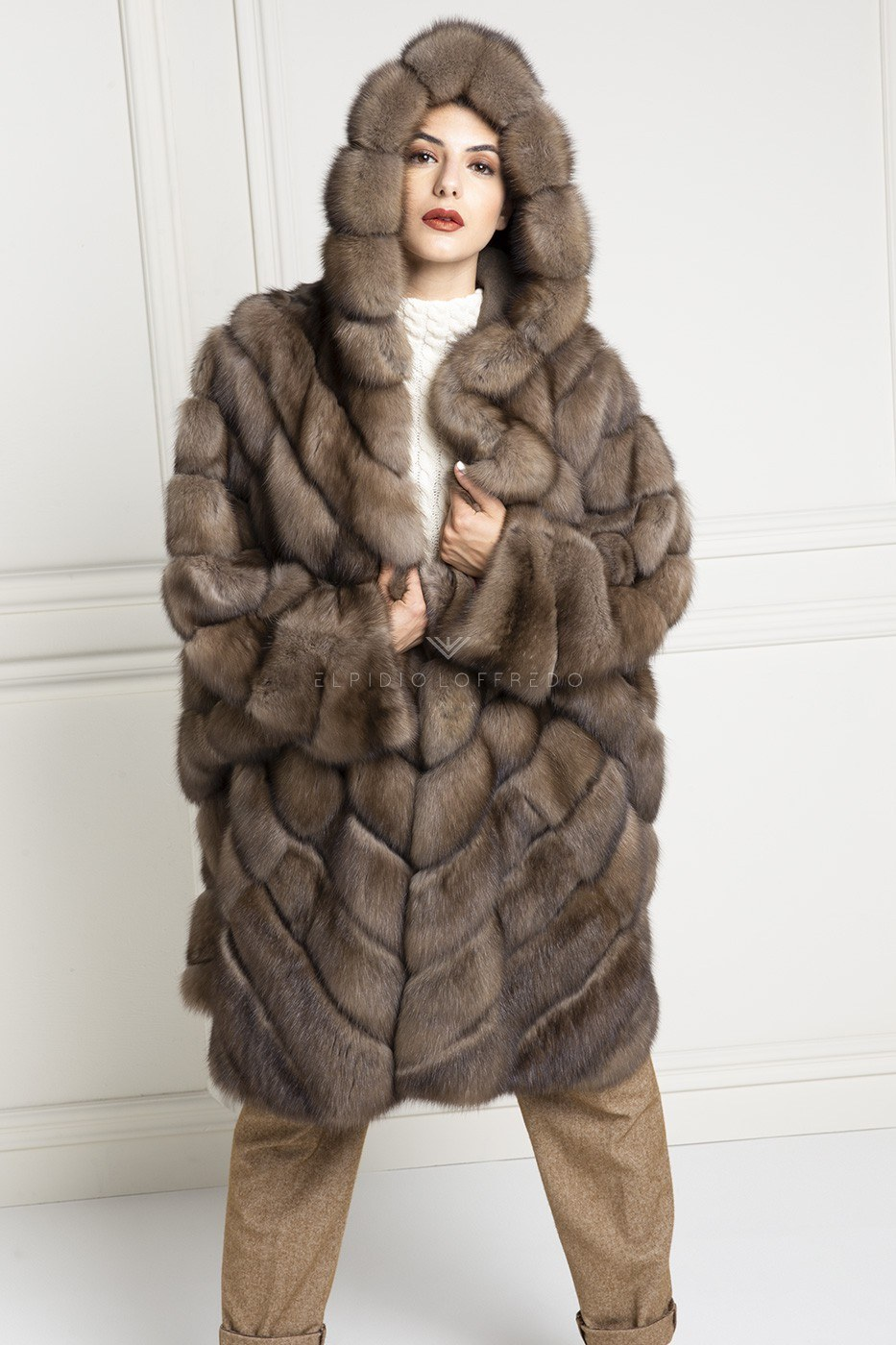 Barguzinsky Russian Sable Fur with Hood - Titanio Color - Length 100 cm