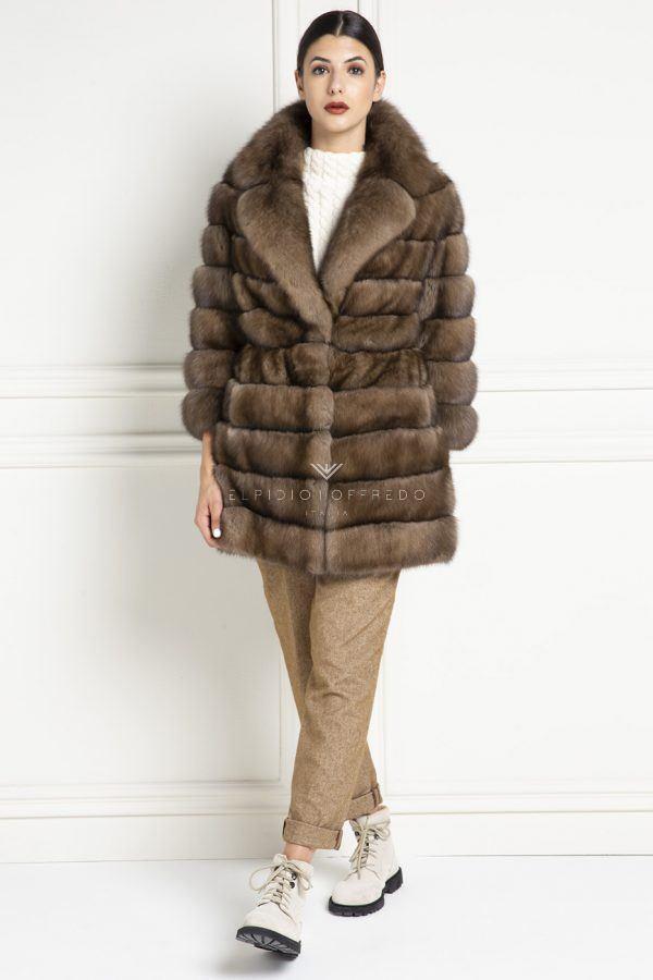 Cappotto di Zibellino Russo - Titanio - Lunghezza 80 cm