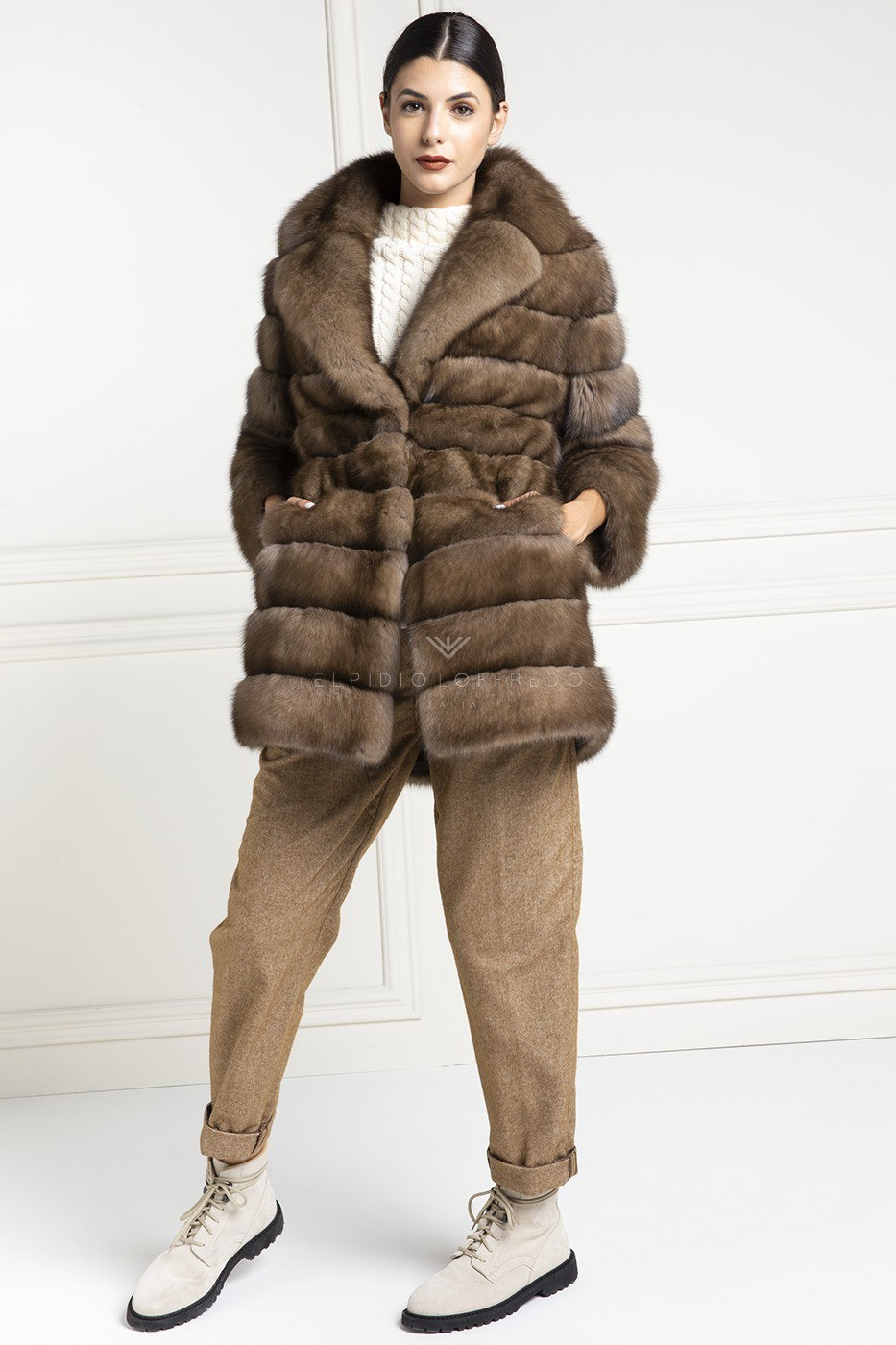 Barguzinsky Russian Sable Fur - Titanio Color - Length 80 cm