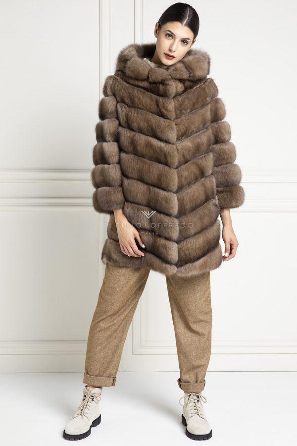 Barguzinsky Russian Sable Fur Double Face - Titanio Color - Length 85 cm