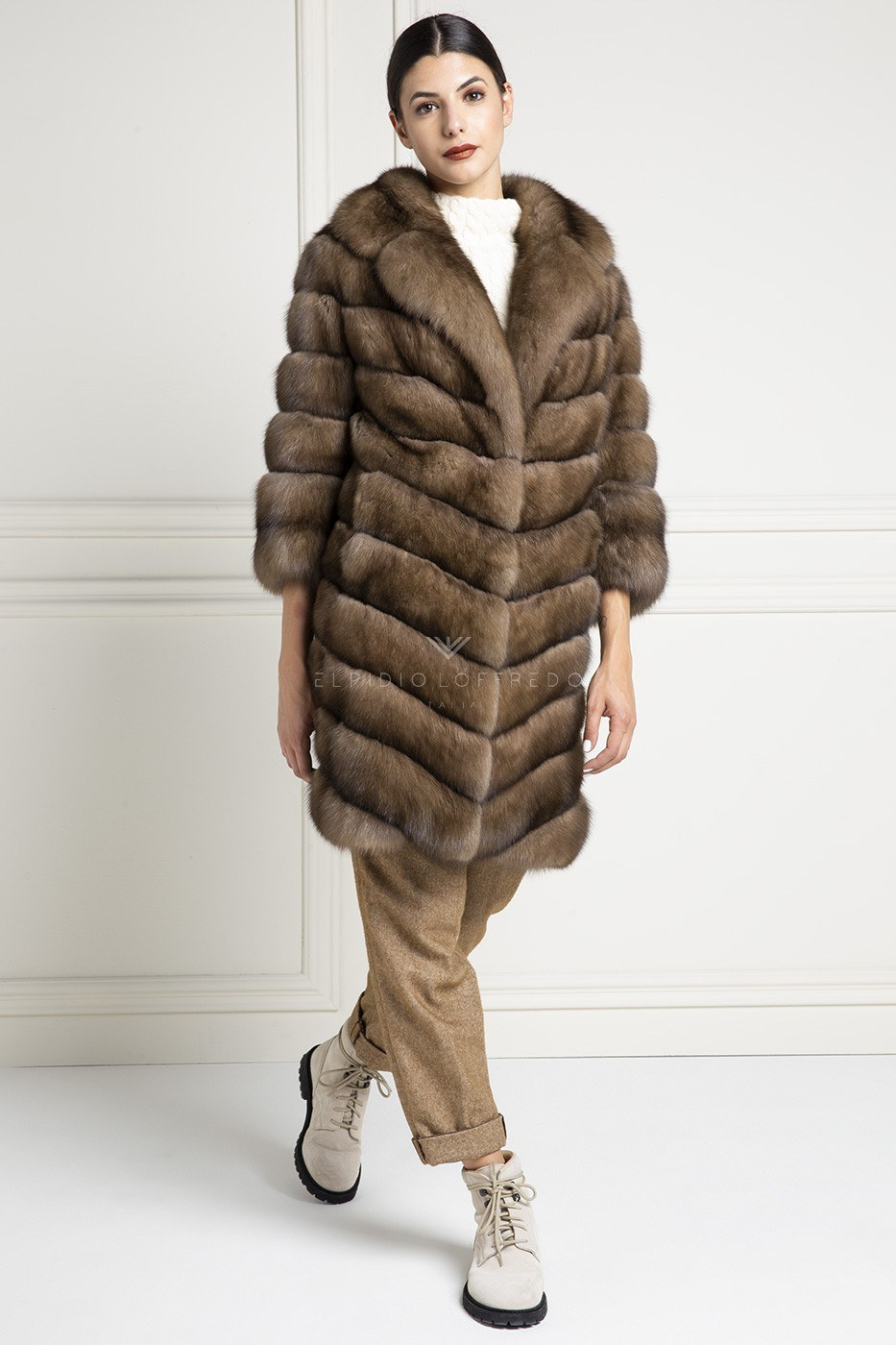 Russian Sable Fur - Titanio Color - Length 90 cm