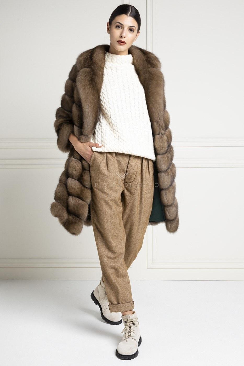 Cappotto di Zibellino Russo - Titanio - Lunghezza 90 cm