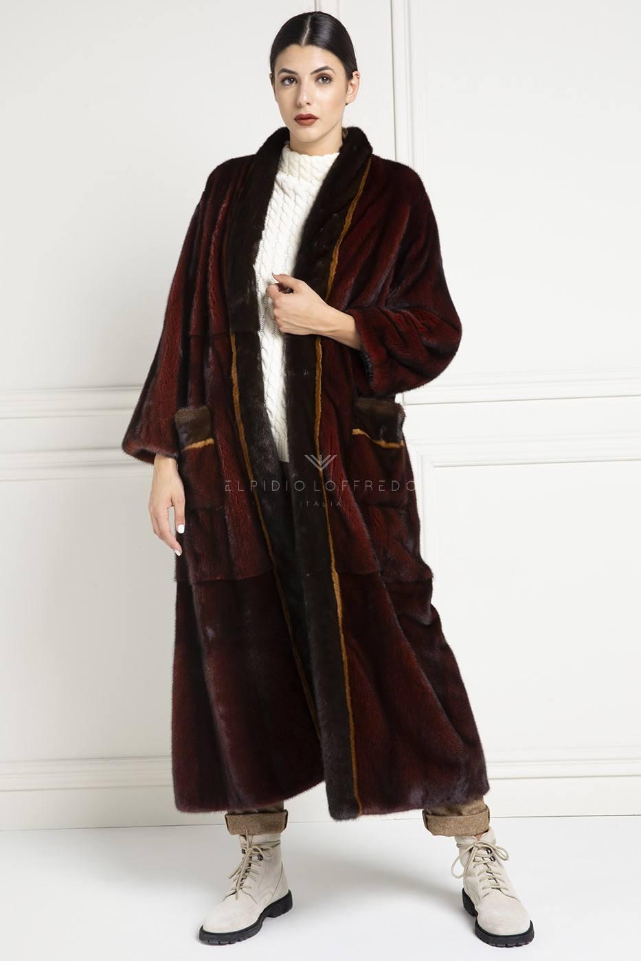 Cappotto di Visone Rosso - Lunghezza 130 cm