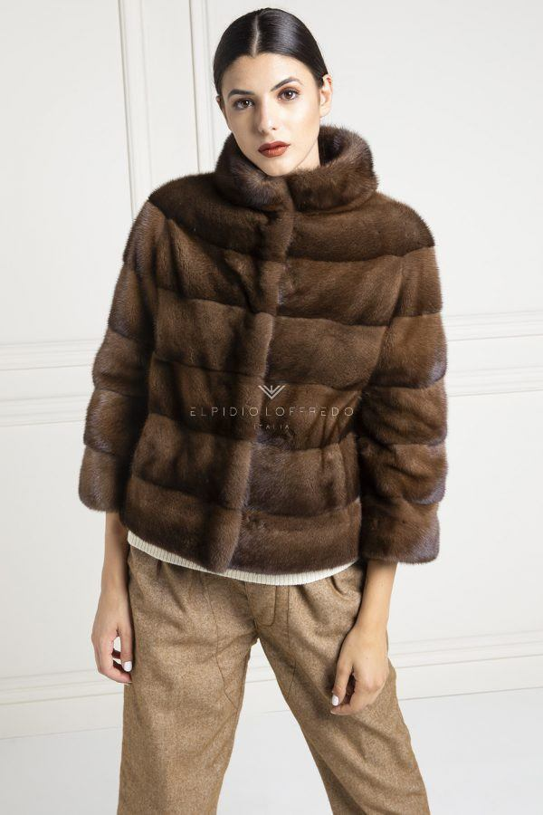 Brown Mink Fur with Round Collar - Length 65 cm