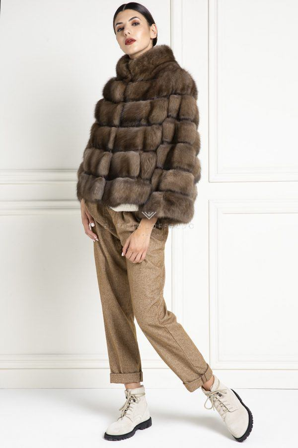 Barguzinsky Russian Sable Fur Jacket with Round Collar - Titanio Color