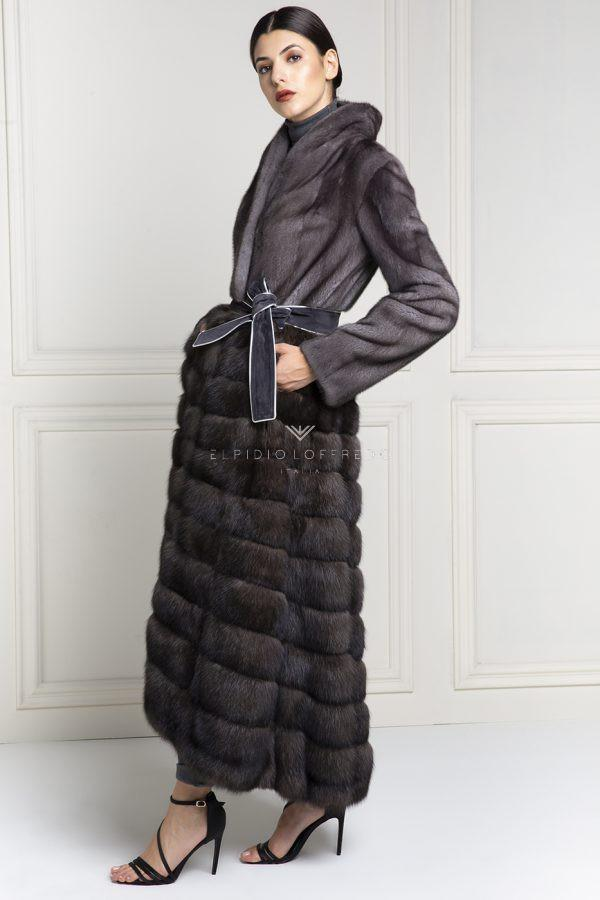 Barguzinsky Russian Sable Coat with Female Mink Fur - Grafite Color - Length 135 cm