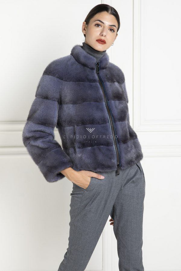 Blue Jeans Mink Jacket with Zip - Length 60 cm