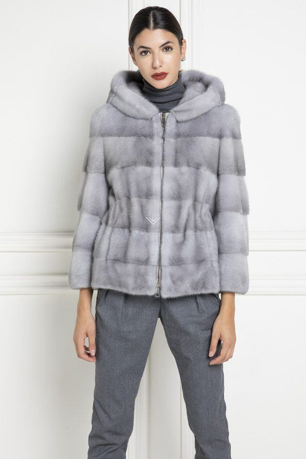 Sapphire Mink Jacket with Hoodie and zip - Length 65 cm