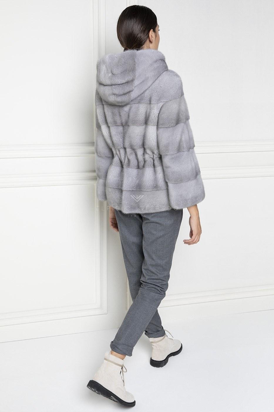 Giacca di Visone Zaffiro con Cappuccio e cerniera - Lunghezza 65 cm