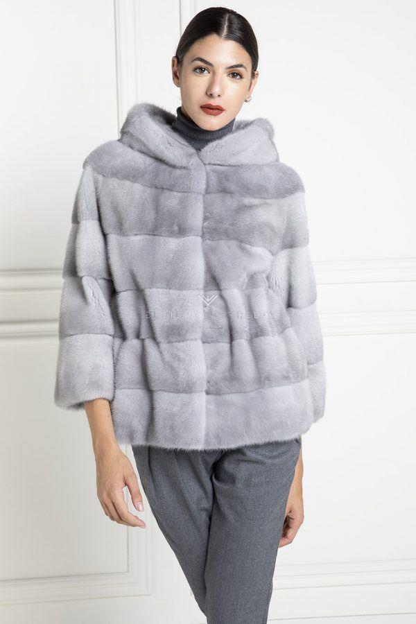 Giacca di Visone Zaffiro con Cappuccio e gancetti - Lunghezza 65 cm