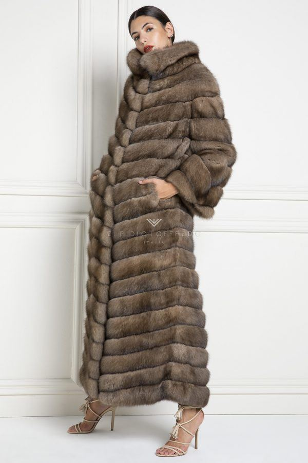 Swakara Coat with Mink Fur - Length 90 cm