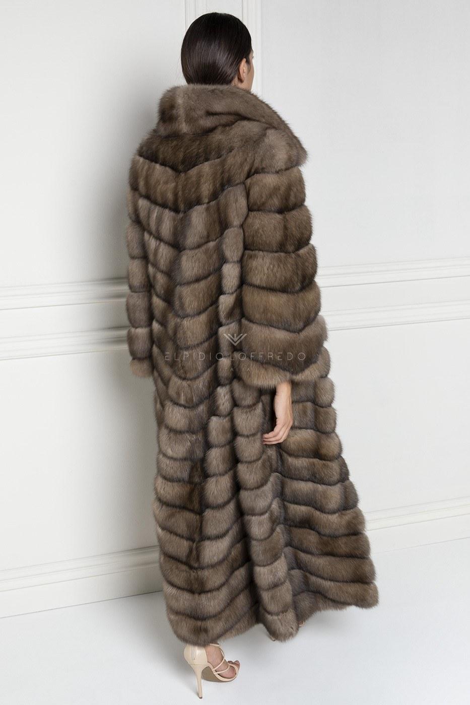 Cappotto di Zibellino Russo Barguzinsky - Titanio- Lunghezza 140 cm