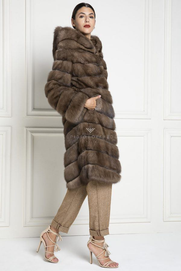 Barguzinsky Russian Sable Fur - Titanio Color - Length 105 cm