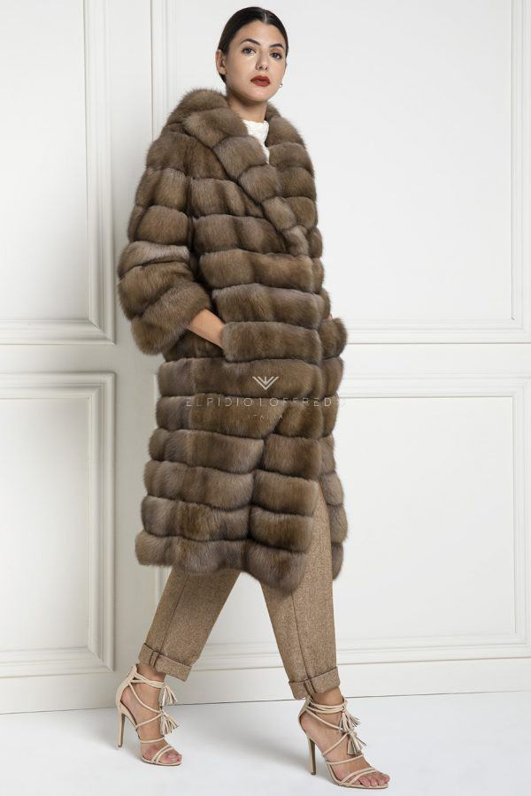 Barguzinsky Russian Sable Fur Coat - Titanio Color - Length 110 cm