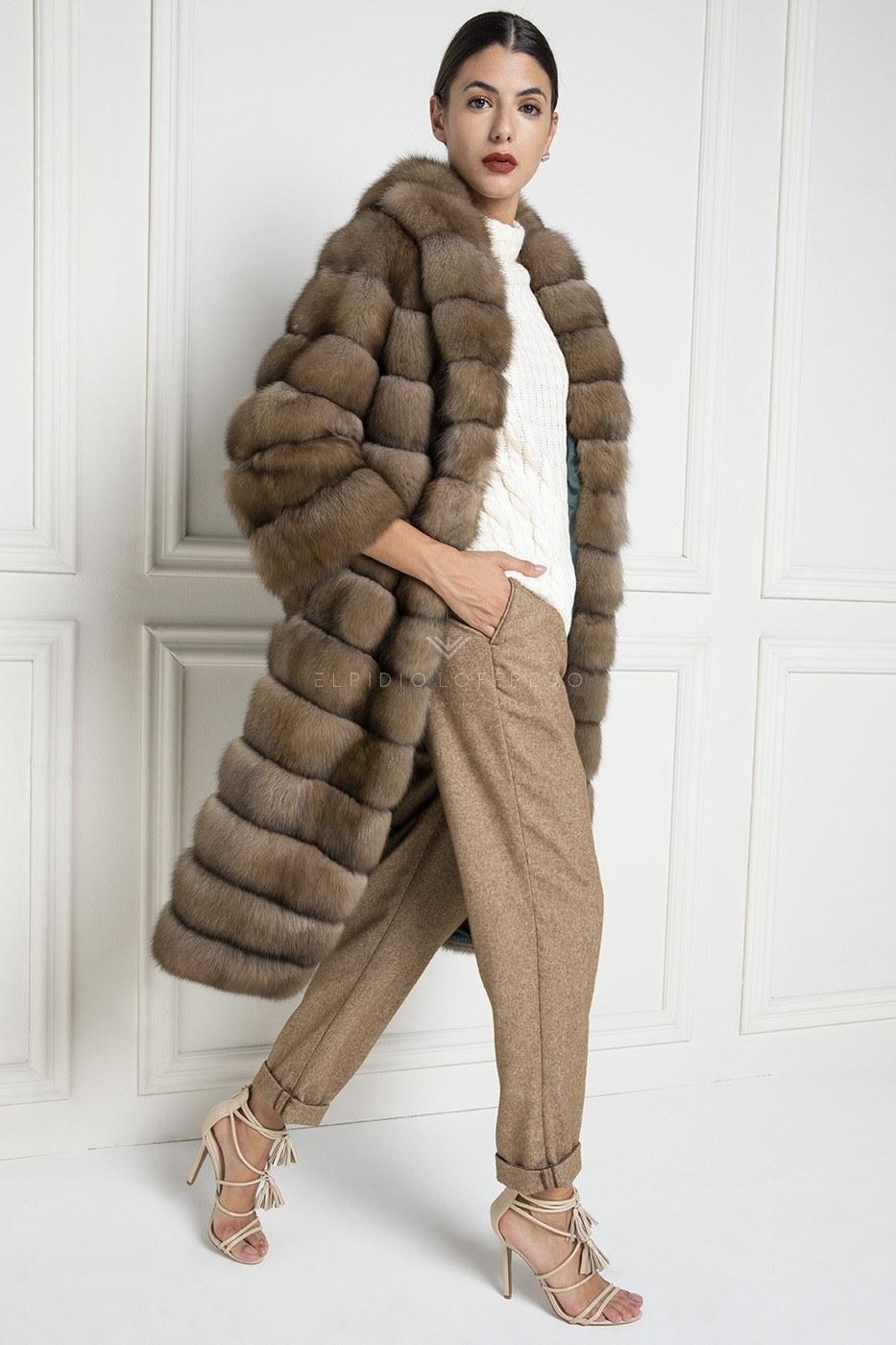 Cappotto di Zibellino Russo Barguzinsky - Titanio- Lunghezza 110 cm
