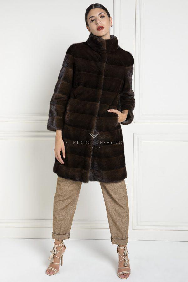 Cappotto di Visone Marrone Scuro con collo rotondo - Lunghezza 90 cm