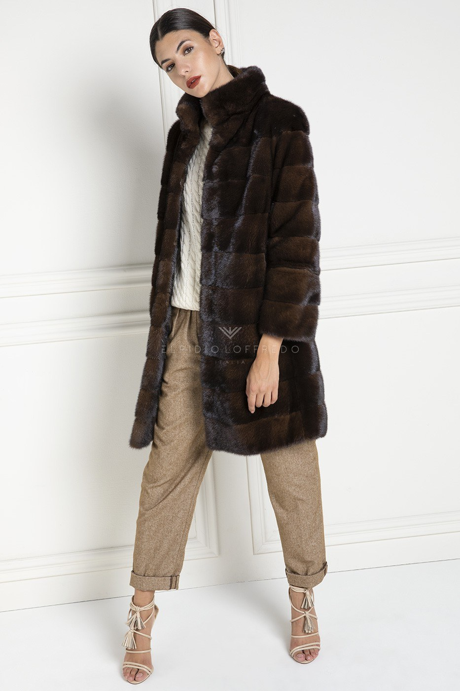 Dark Brown Mink Fur Coat with Round collar - Length 90 cm