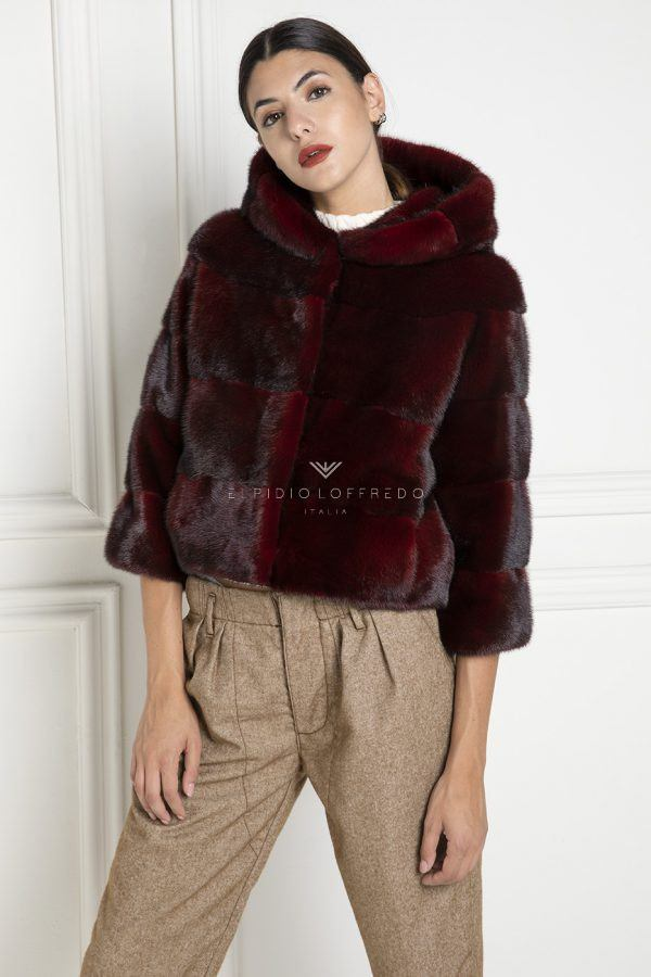 Red Mink Jacket with Hoodie - Length 50 cm