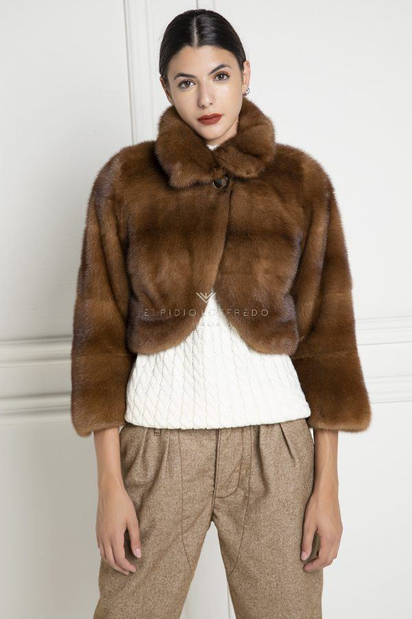 Brown Mink Jacket - Length 40 cm