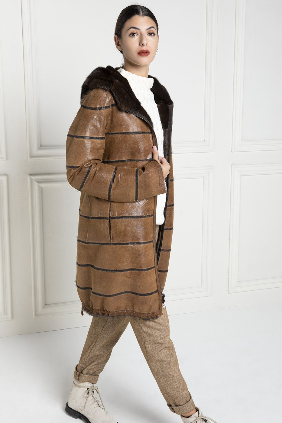 Double Face Brown Mink Parka - Length 100 cm