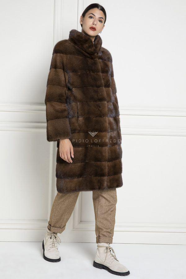 Cappotto di Visone Marrone con collo rotondo - Lunghezza 105 cm