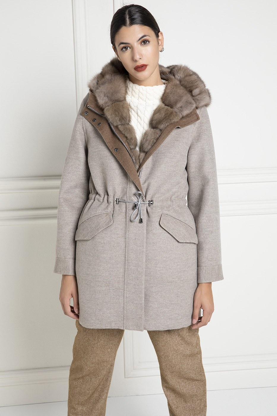 Cashmere Loro Piana Coat with Barguzinsky Russian Sable Fur Vest