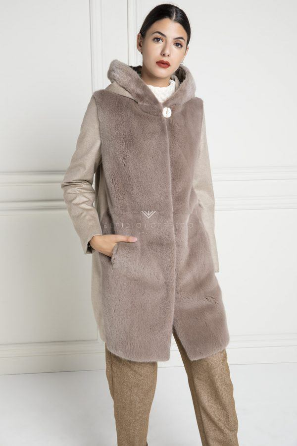 Сashmere Loro Piana with Mink Fur and whole skins - Length 90 cm