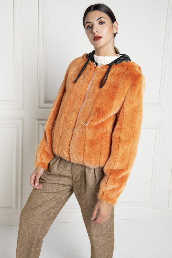 Orange Mink Fur Jacket with Hoodie - Length 65 cm