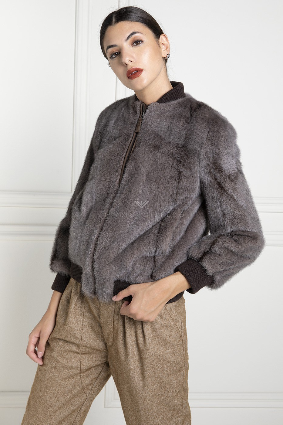 Cross Mink Bomber with Suede - Length 65 cm