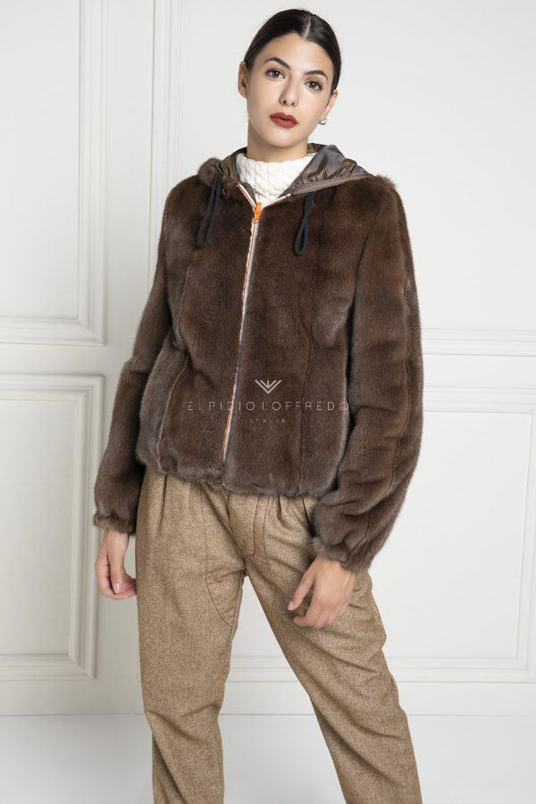 Brown Mink Fur Jacket with Hoodie - Length 65 cm