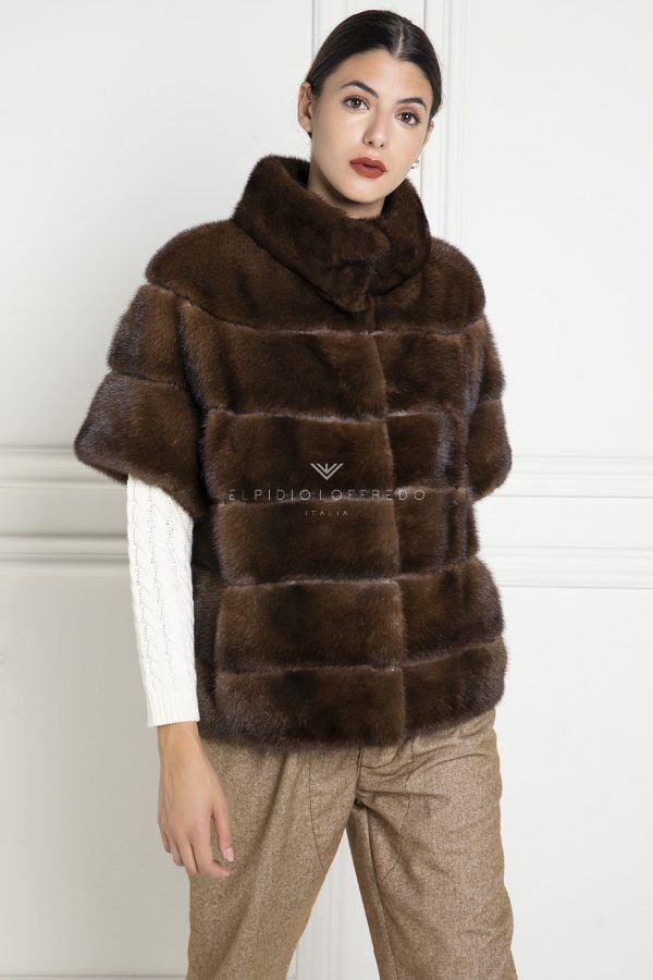 Brown Mink Jacket with Zip - Length 65 cm