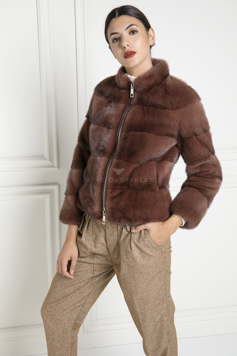 Red Mink Jacket with Zip - Length 60 cm