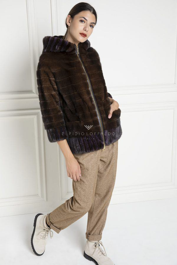 Bicolor Mink Fur Jacket with Hoodie - Length 65 cm
