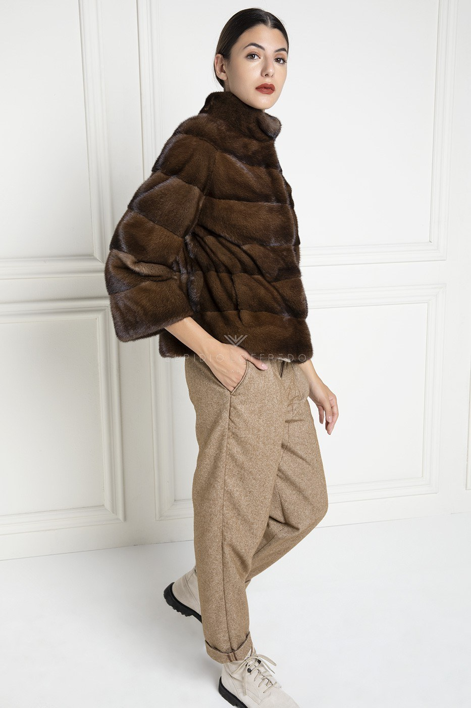 Brown Mink Jacket with 3/4 sleeves - Length 65 cm