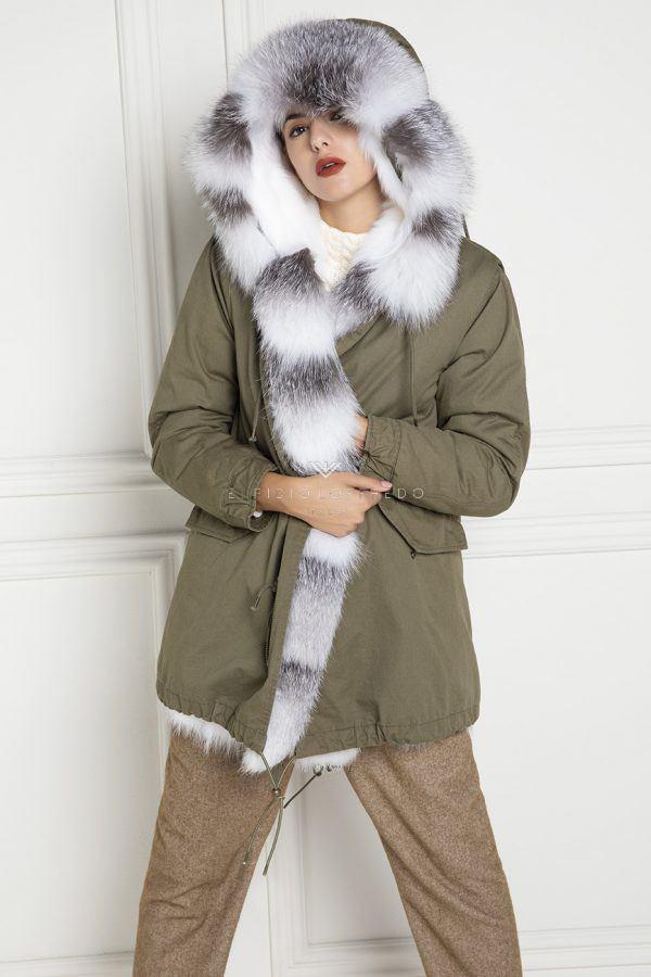 Parka with Shadow Blue Frost Fox Fur - Length 85 cm