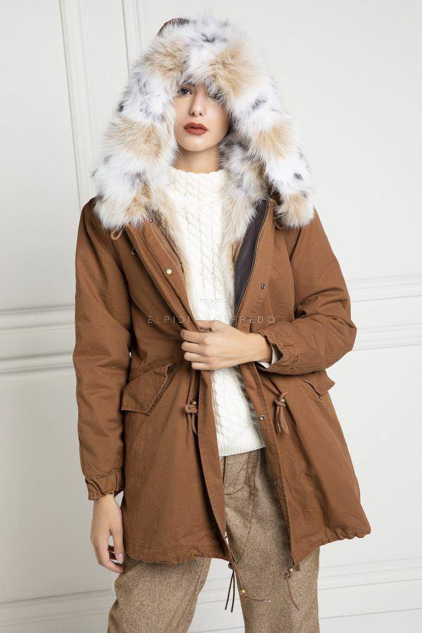 Parka with Fox Fur - Length 85 cm