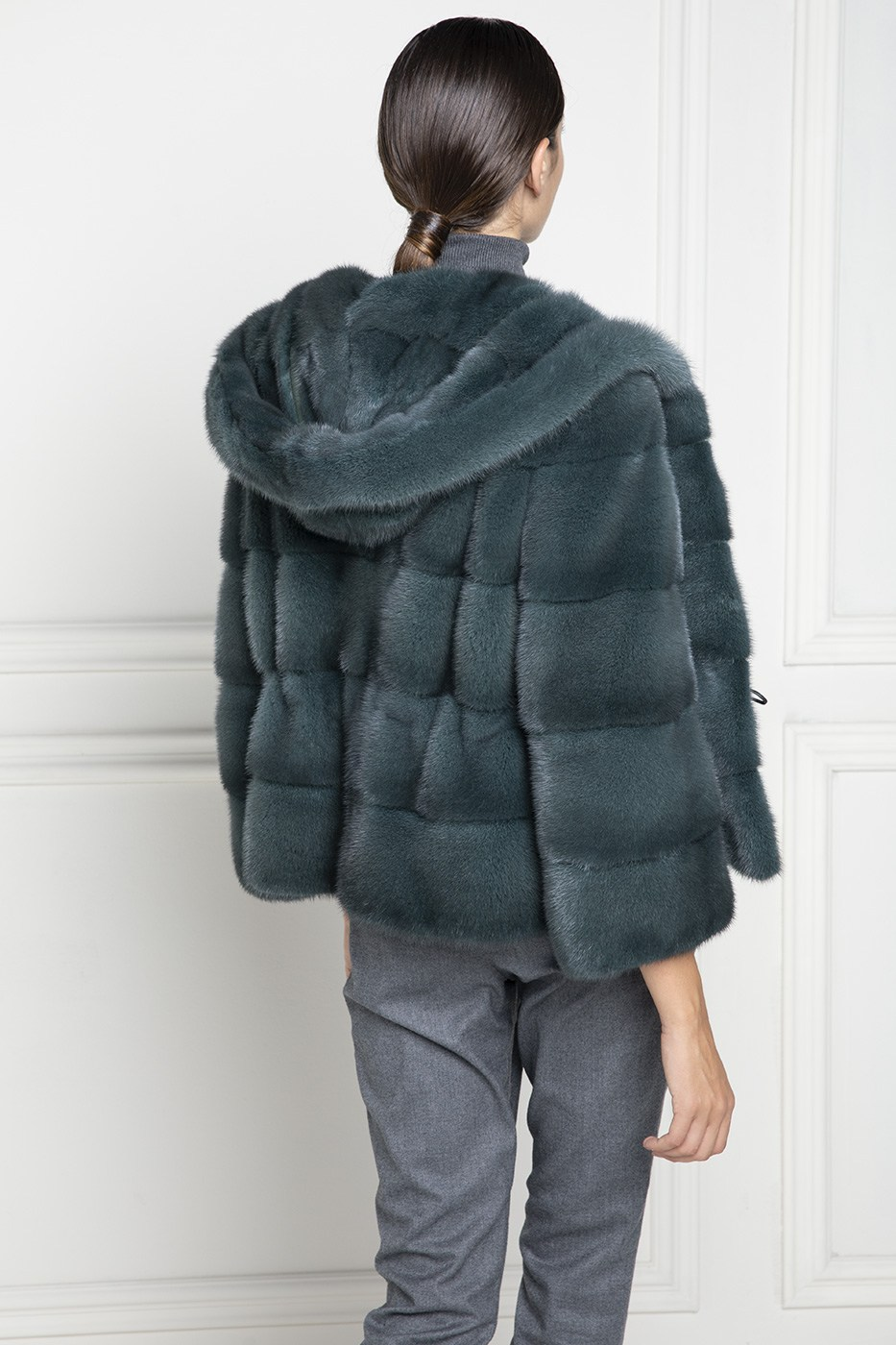 Green Mink Fur Jacket with Hoodie- Length 65 cm