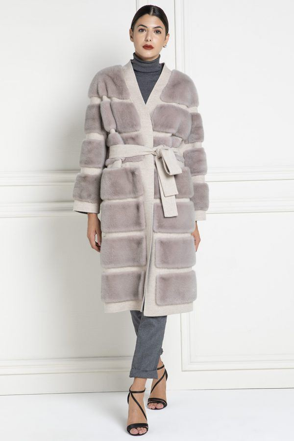 Cashmere Loro Piana Coat with Mink Fur - Length 110 cm