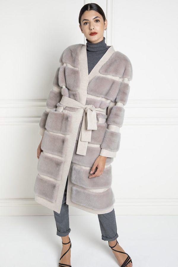 Пальто из Кашемира Loro Piana с Норкой - Длина 110 см
