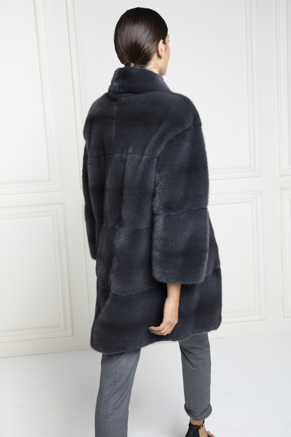 Grey Mink Coat - Length 85 cm