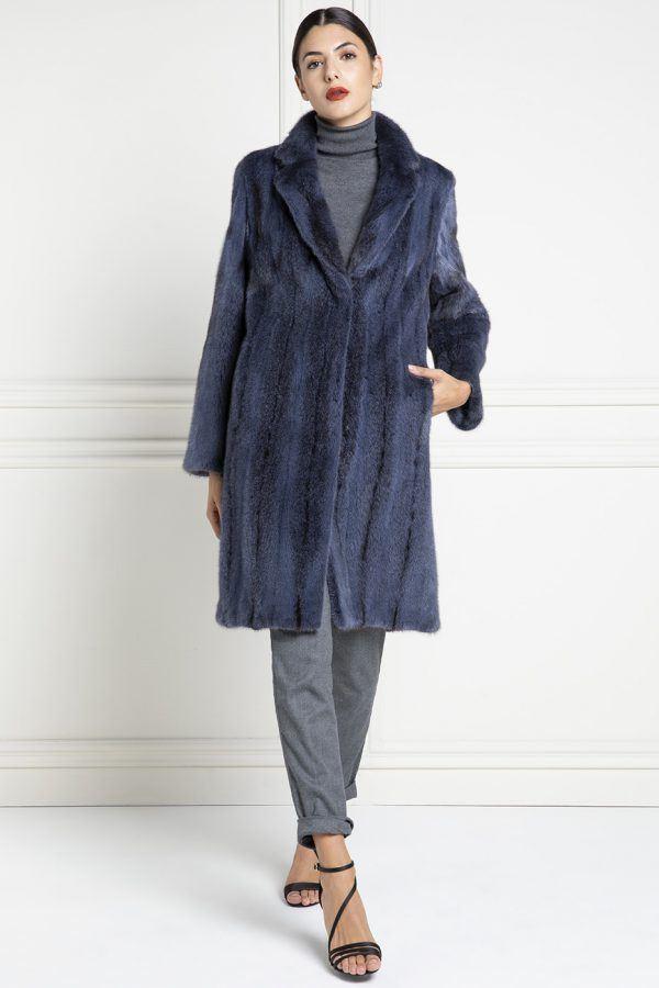 Cappotto di Visone Blue con collo Rever - Lunghezza 100 cm