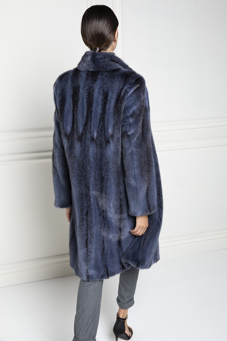 Blue Mink Coat with Rever Collar - Length 100 cm