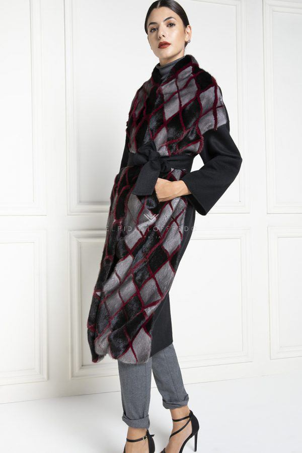 Cashmere Loro Piana con Pelliccia di Visone - Lunghezza 110 cm