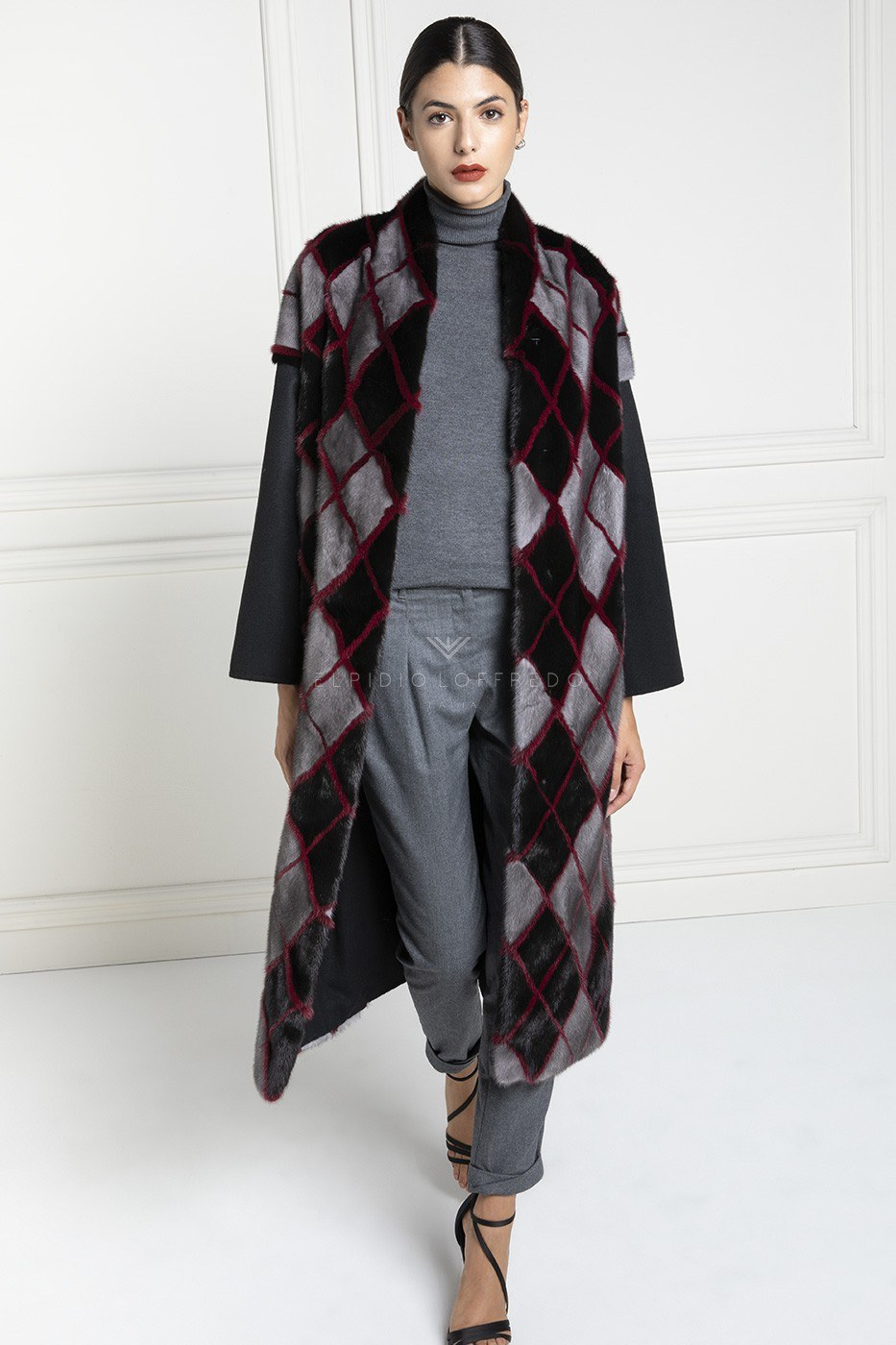 Cashmere Loro Piana Coat with Mink Fur and Plat Collar - Length 110 cm